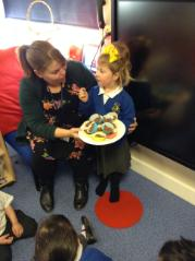 Making cakes for our homework and sharing them with our friends